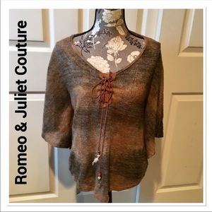 ROMEO & JULIET Couture Brown Knit Poncho Medium